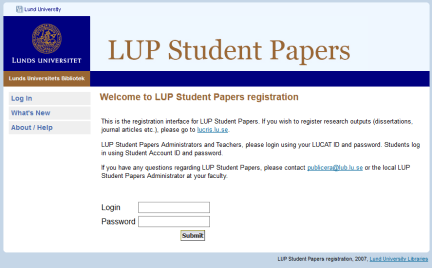 Screenshot LUP Student Papers